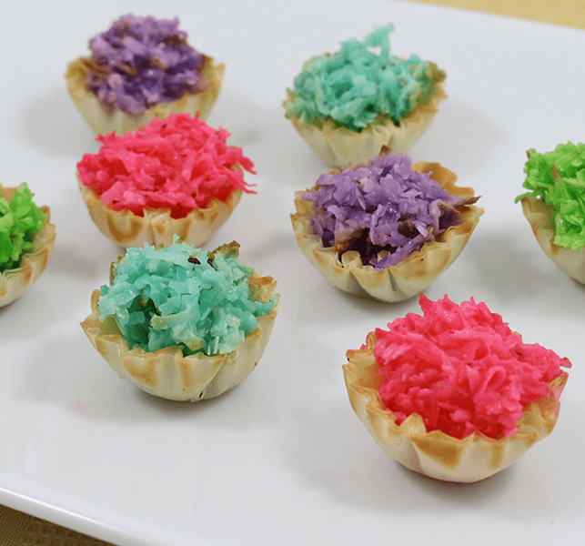 baby shower appetizers pastel macaroon phyllo tartlets