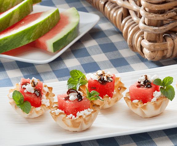 Watermelon & Feta Phyllo Cups