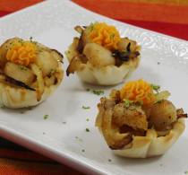Scallop & Sweet Potato Mini Fillo Shells Seafood Appetizers