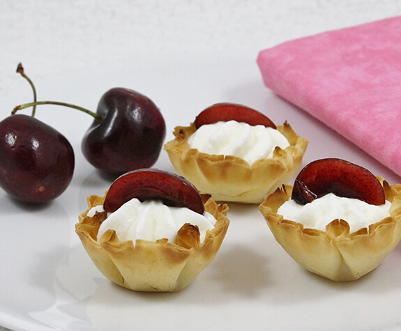 Cherry Buttermilk Cream Phyllo Tartlets