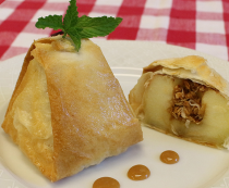 Phyllo-Wrapped Apples and Pears Stuffed with Granola