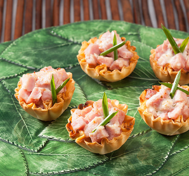 Ham and Herbed Cheese Phyllo Shells