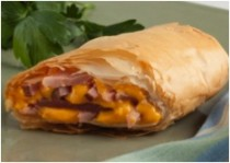 Ham and Cheese Phyllo Strudel Football Appetizers