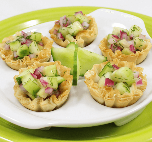 Healthy party snacks balsamic cucumber mini shell canapes for Canape shells