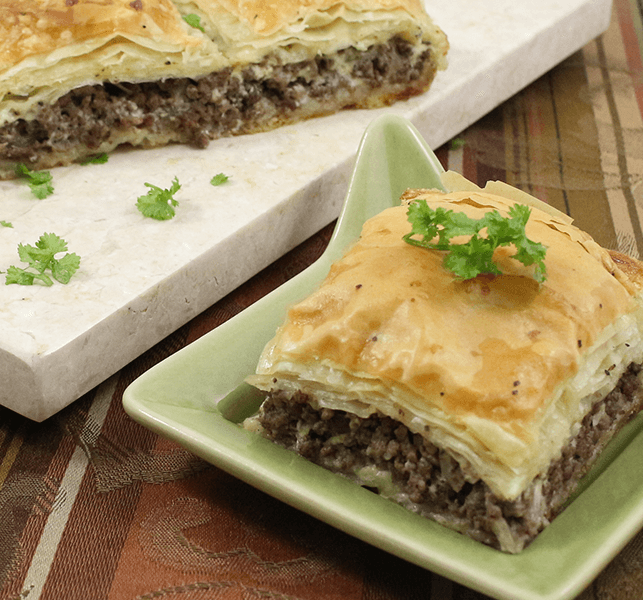 Meat appetizer egyptian goulash phyllo meat pie for Phyllo dough recipes appetizers indian