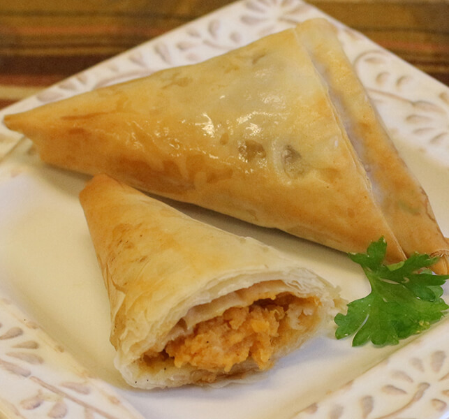 Phyllo sweet potato triangles appetizers for for Phyllo dough recipes appetizers indian