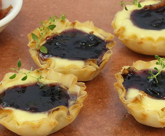 Bacon & Blueberry Brie Phyllo Tartlets