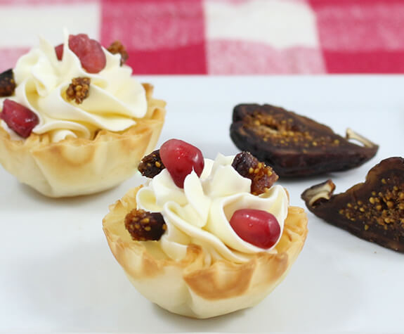 Goat Cheese Phyllo Tarts with Pomegranate & Figs