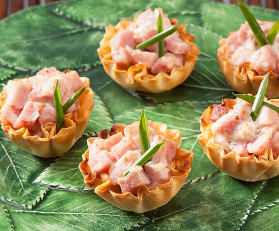 Ham & Herbed Cheese Phyllo Shells